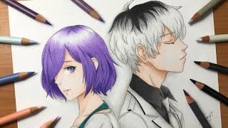 Speed Drawing - Haise Sasaki & Touka Kirishima (Tokyo Ghoul) [HD]