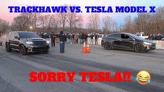 1000HP JEEP TRACKHAWK DESTROYED A TESLA MODEL X P100D IN A DRAG RACE!