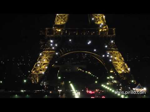 The Eiffel Tower at Night in Paris, France Video