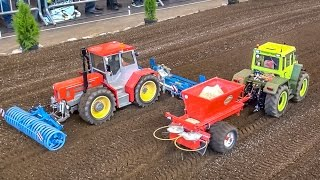 RC tractors in HUGE 1:8 scale working on a field! Amazing compilation!