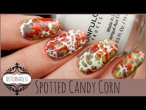 #80 ~Halloween nailart: Water Spotted Candy Corn~