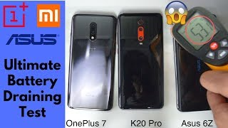 This Was UNEXPECTED 😱 Redmi K20 Pro Battery Drain Test vs OnePlus 7 vs Asus 6Z -