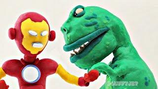 Dinosaur T-REX vs Iron Man Superhero Kids Video Play-Doh Stop Motion