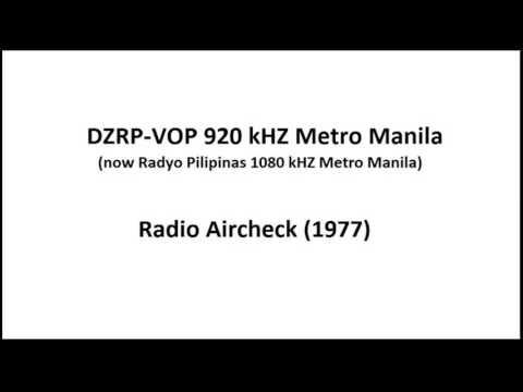 DZRP-VOP 920 kHZ Metro Manila (now 1080 kHZ Radyo Pilipinas) Metro Manila Aircheck (1977)