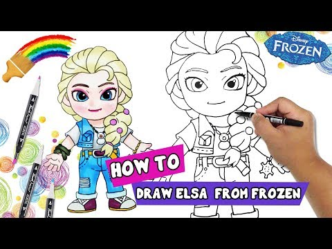 How To Draw | How To Draw Cartoon Characters | Queen Princess Elsa Frozen thumbnail