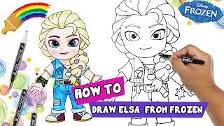 How To Draw | How To Draw Cartoon Characters | Queen Princess Elsa Frozen