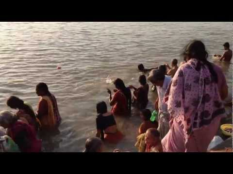The Landscape Of Bathing In The Morning (kedar Ghat   Ganges) video