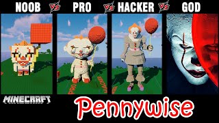 Minecraft Battle: NOOB vs PRO vs HACKER vs GOD: BUILD PENNYWISE (IT) CHALLENGE in Minecraft.