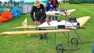 2X HUGE RC FOKKER SPINNE 1911 SCALE OLDTIMER MODEL AIRCRAFT FLIGHT DEMONSTRATION