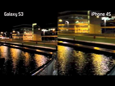 iPhone 4S vs Samsung Galaxy S3 Night video camera test low light side-by-side