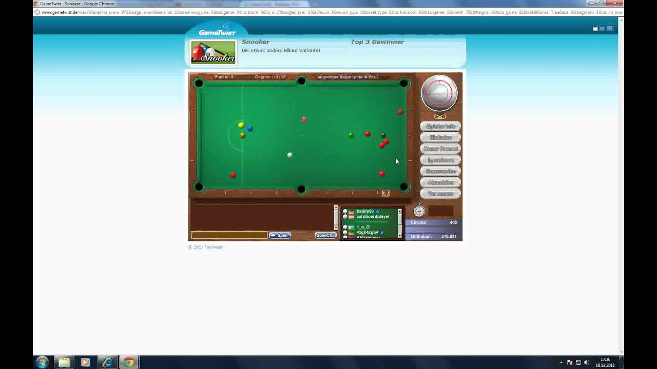 gametwist snooker