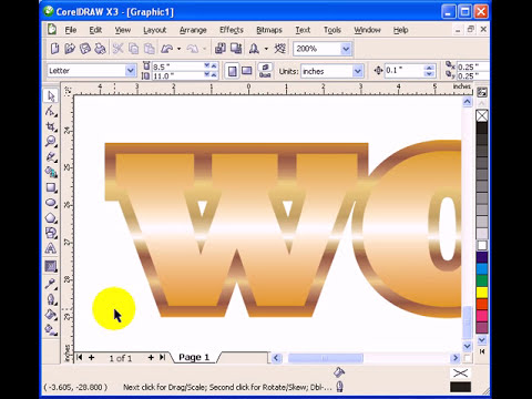 Gold Plated Text effect in CorelDraw X3