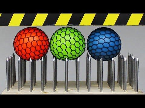 EXPERIMENT Anti Stress Balls vs Nail Bed (HYDRAULIC PRESS 100 TON)