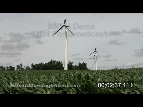 Stock footage of damaged windmills & wind farms