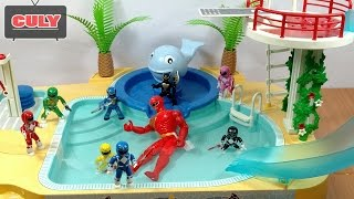 power rangers go to swim in the pool funny story toy for kids