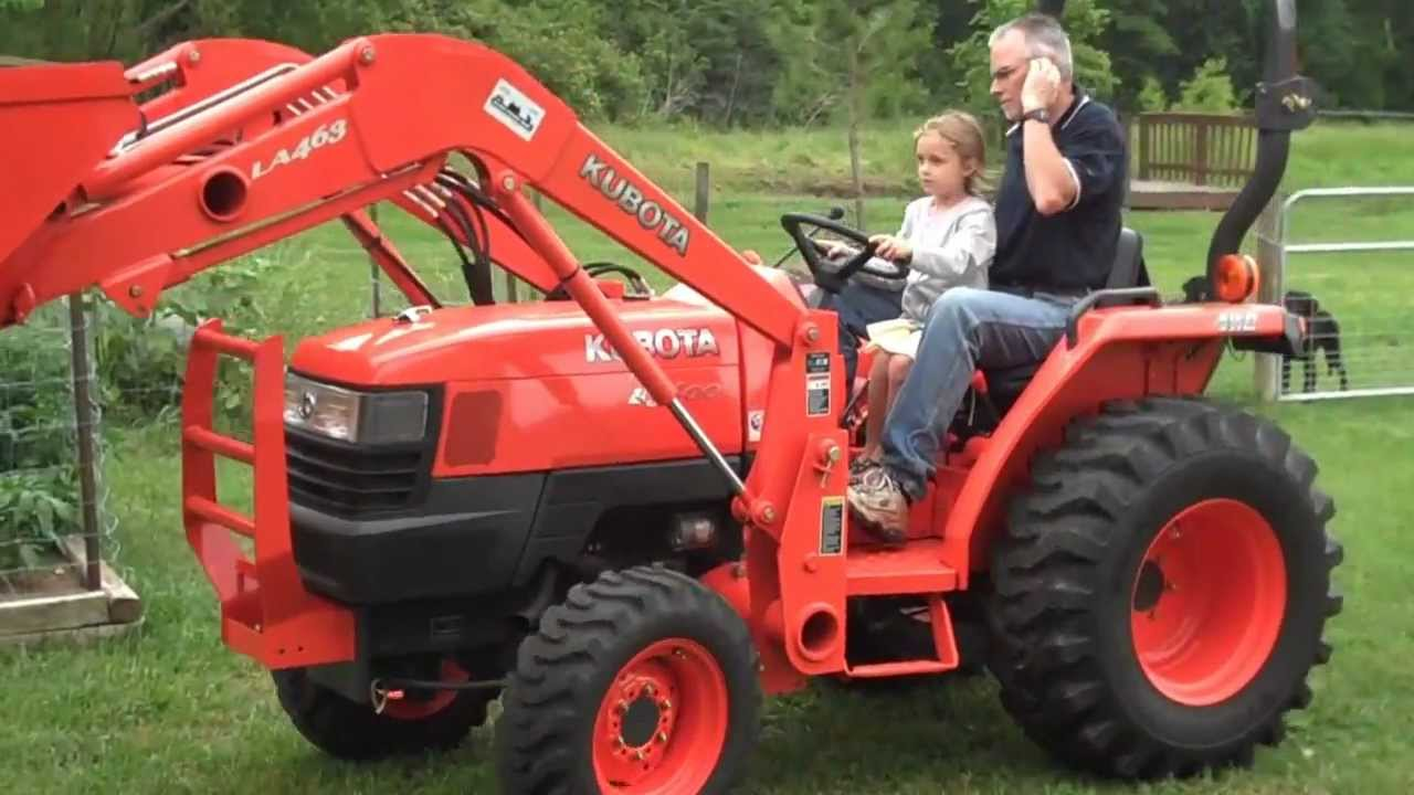 Little Girl Drives Kubota L3400 Tractor With A Little