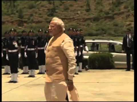 Indian Prime Minister Narendra Modi arrives in Bhutan for his first foreign visit