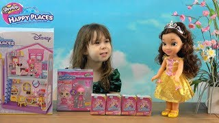 Princess Anna and Princess Belle Play with Disney Shopkins Happy Places Townhouse and Blind Bags