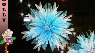 How to make tissue paper flowers : Snowflakes