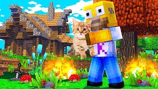 WE RESCUED A CAT FROM A HOUSE IN FLAMES at MINECRAFT 🔥😱