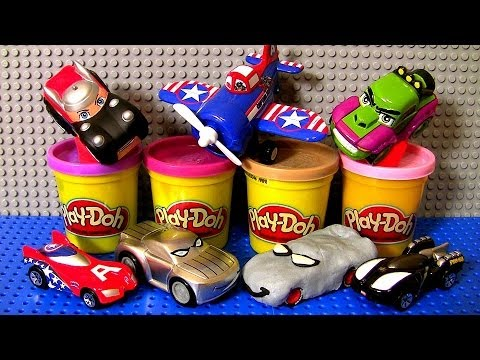 Play Doh Superheroes Cars THOR Captain America Plane Marvel the Avengers HULK Spiderman Play Dough