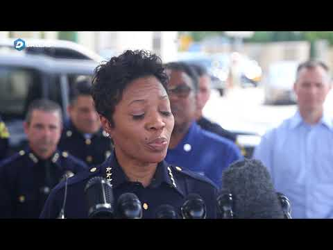 Dallas Police Chief Renee Hall announces the death of Senior Cpl Earl James Givens