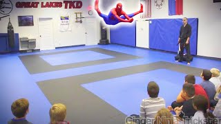 SPIDERMAN Visits Great Lakes TKD | Kicks & Flips in Real Life | REACTIONS 😮