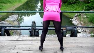 Lily TG in Pink Mini, Black Pantyhose.
