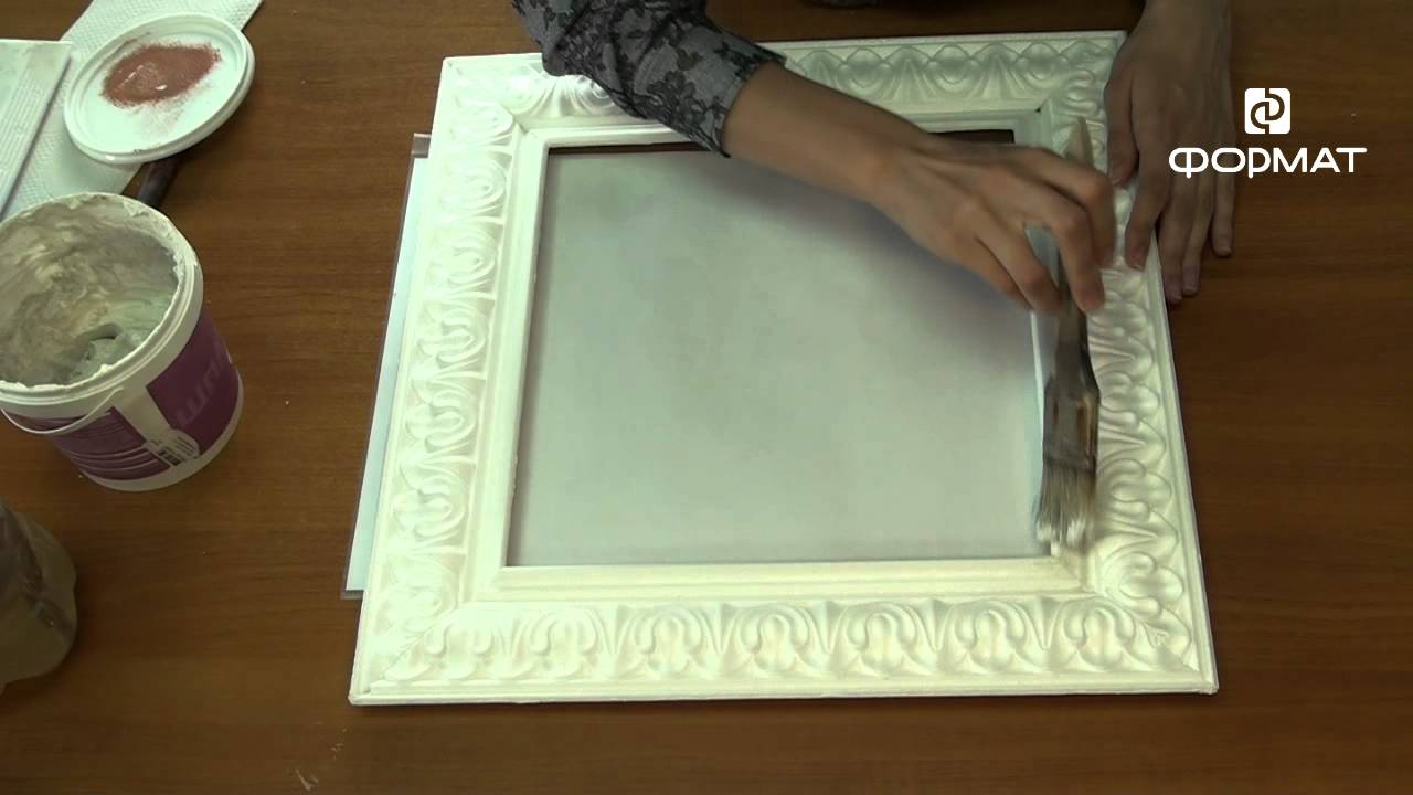 Рамка из потолочного плинтуса своими руками под старину