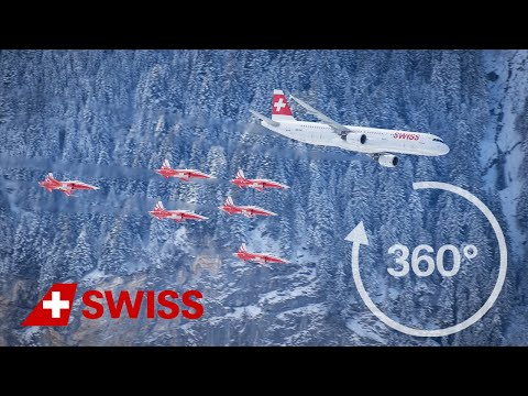 SWISS A321 and Patrouille Suisse in 360° at the Lauberhorn race 2016