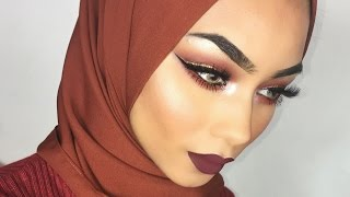 Glam AutumnFall makeup ABH Modern Renaissance palette My everyday hijab tutorial