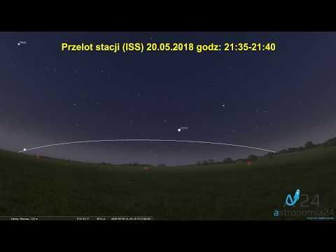 Symulacja przelotu stacji (ISS) Polska 20.05.2018