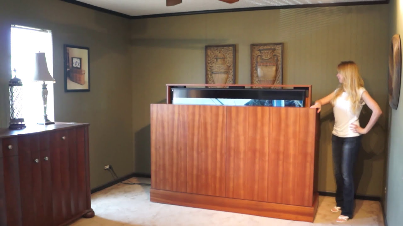 70 tv lift cabinet sapele wood the american tv lift by matukewicz furniture youtube. Black Bedroom Furniture Sets. Home Design Ideas