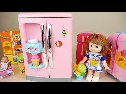 Baby doll Play doh Ice cream Refrigerator and kitchen toys baby Doli play