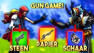GUN GAME BATTLE met STEEN PAPIER SCHAAR v2!! - Fortnite Playground (Nederlands)