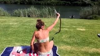 South African girl catch a cobra!