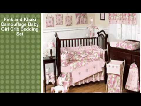 0 Pink and Khaki Camouflage Baby Girl Crib Bedding Set