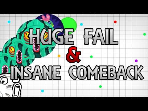 AGAR.IO // HUGE FAIL & INSANE COMEBACK // #UNCUT GAMEPLAY