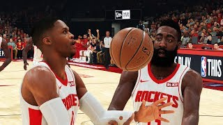 Who takes the last shot Westbrook or Harden?