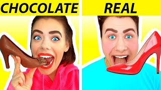 CHOCOLATE FOOD VS REAL FOOD CHALLENGE | Funny Pranks!! Taste Test by Ideas 4 Fun CHALLENGE