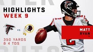 Matt Ryan Tosses 4 TDs 350 Yards vs Redskins