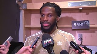 Carroll happy to be back in Toronto despite not playing
