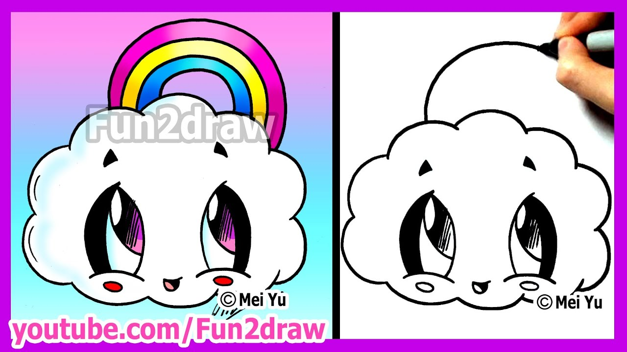 How to draw cartoons rainbow cloud fun2draw cute easy for Fun things to draw