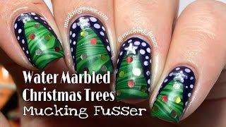 Water Marbled Christmas Tree Nail Art Tutorial