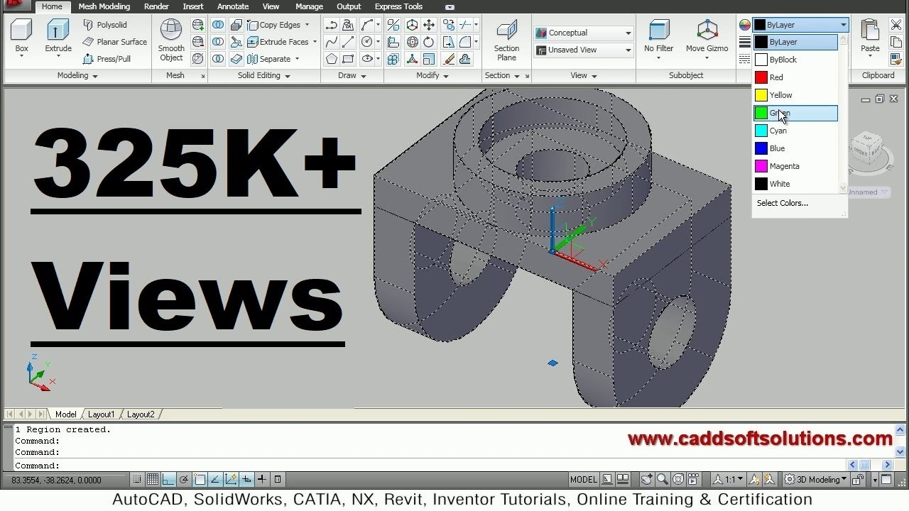 AutoCAD 3D Modeling Exercise Tutorial for Beginners | AutoCAD 2010 ...
