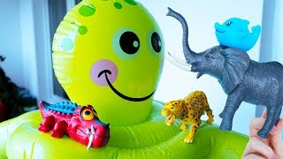 Learn Wild Animals and Farm Animals with Toy Zoo Animals for Kids and Learn Sea Animals in Water Tub