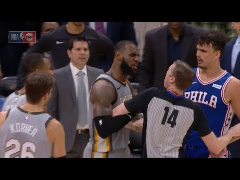 76ers dunk twice in final seconds, Clarkson and LeBron get angry at Saric - Clarkson ejected!