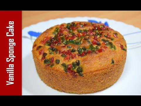 एग्गलेस वनीला स्पंज केक With Tutti Frutti | Vanilla Sponge Cake | Recipeana