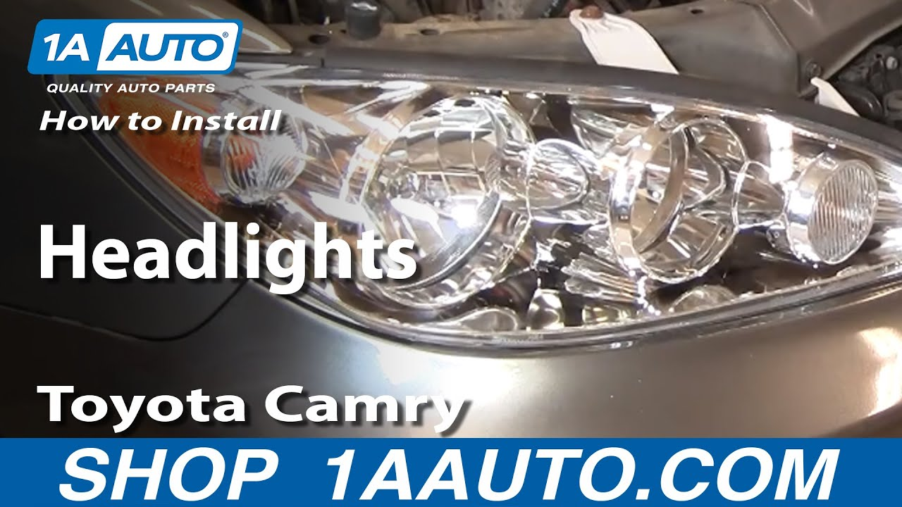 how to install replace headlights toyota camry 02