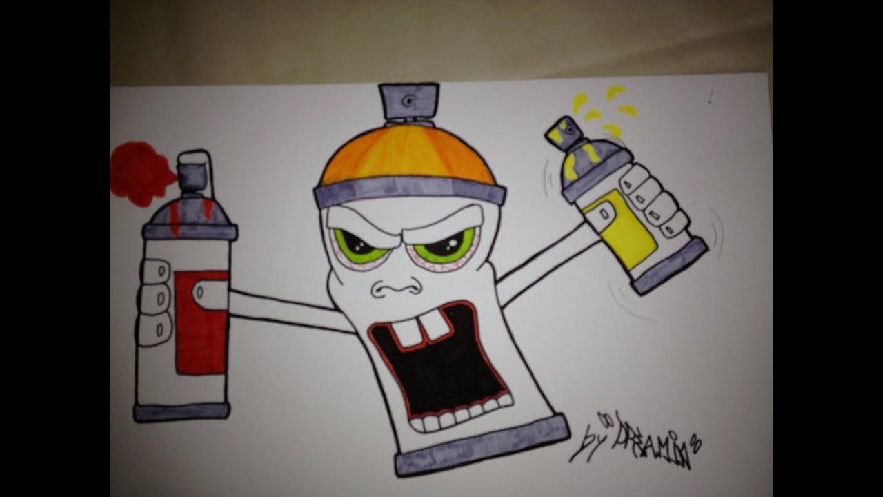 Tutorial comment dessinner un personnage bombe spraycan - Peinture facile a reproduire ...